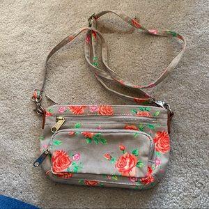 Vspink gray floral mini purse